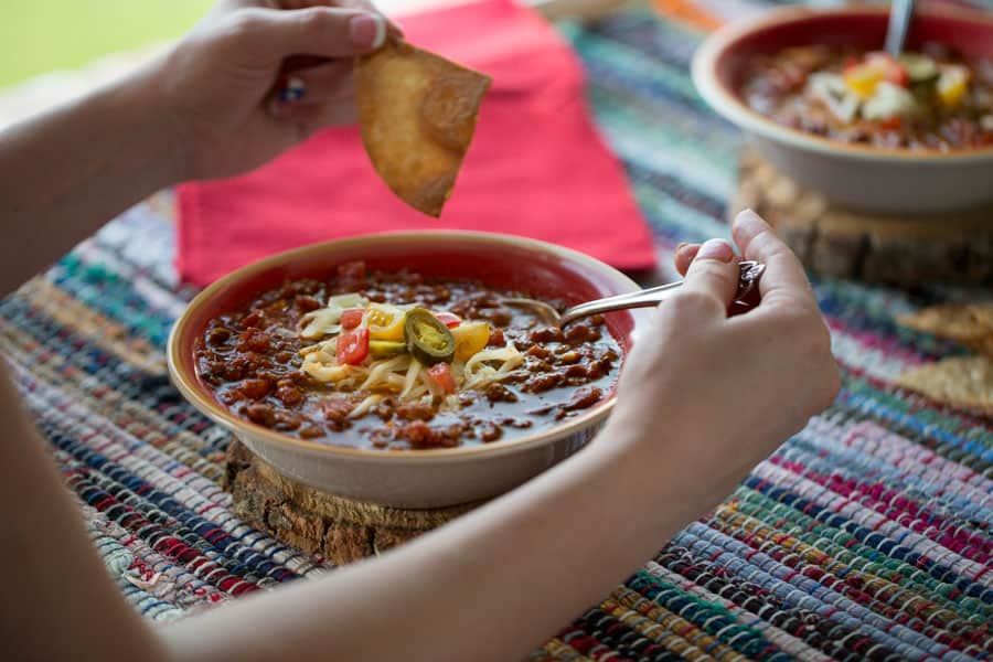 Homemade Texas Taco Soup with cheese, jalapenos, chips