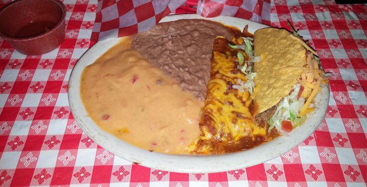 Candlelite Inn's Special Mexican Dinner - A plate of enchiladas and tacos