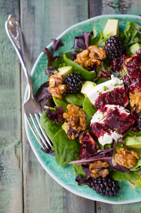A beautiful goat cheese, avocado and blackberry salad