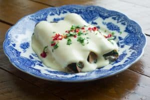 Spinach and Mushroom Enchiladas with Cream Sauce