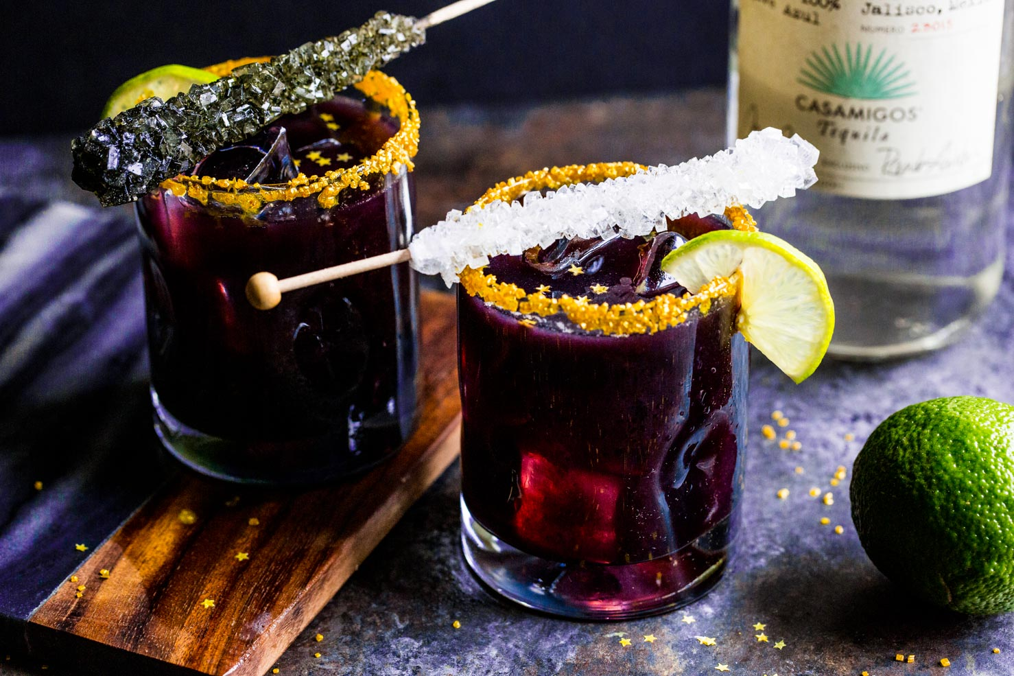Oilman Margaritas Recipe - Black Margaritas displayed with rock candy and stars