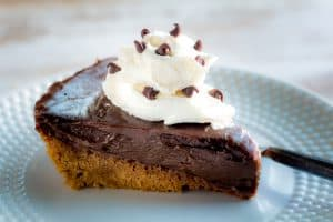 Mexican Chocolate Pie topped with coconut whipped cream
