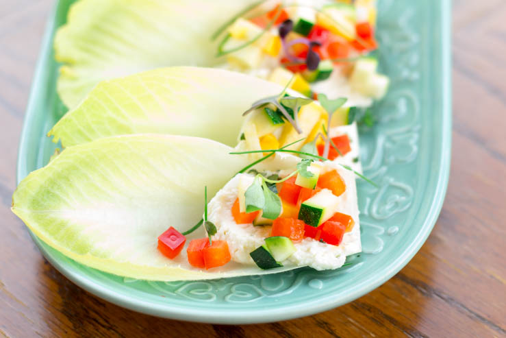 Spring Endive Bites With Boursin Cheese on a beautiful platter
