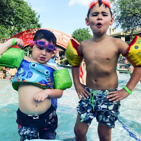 My kids Gabe and Micah posing at the pool!