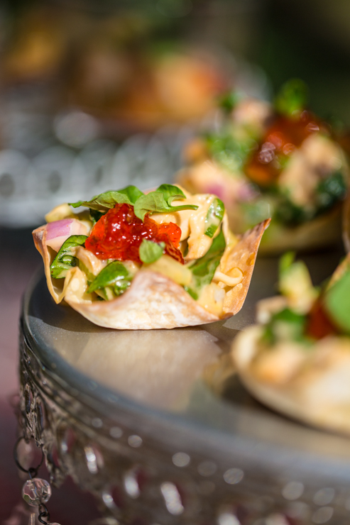 Red Pepper Jelly Chicken Salad Wonton Cups on a tray