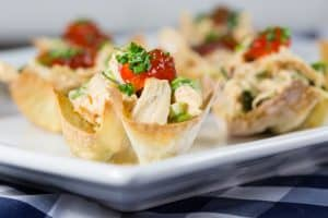 Red Pepper Jelly Chicken Salad Wonton Cups
