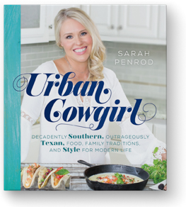 The Urban Cowgirl Cookbook Cover, Chef Sarah Penrod in the kitchen