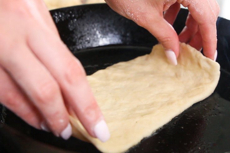 Bacon Fat Tortillas - Raw dough being laid on the skillet