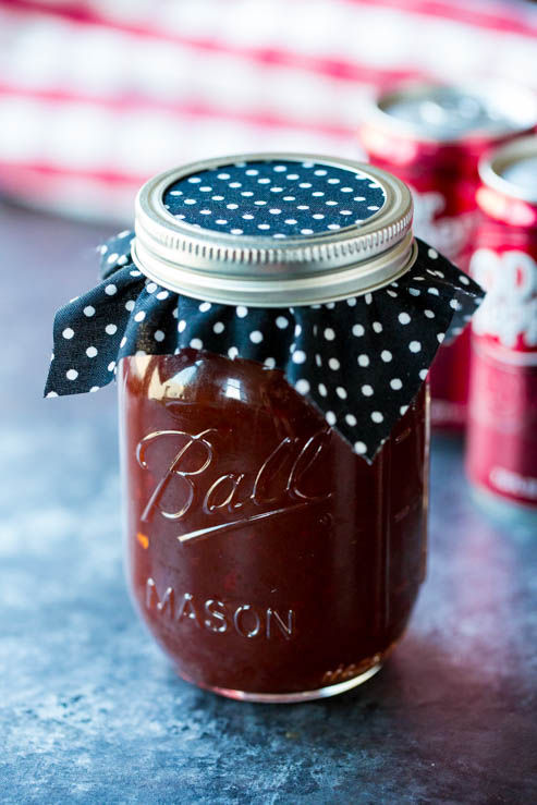 Dr Pepper Barbecue Sauce Recipe in a mason jar