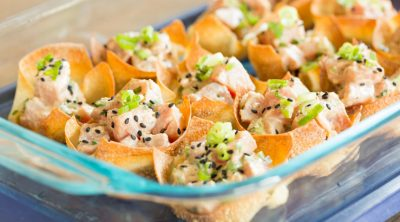 Jalapeno Poke in wonton cups for parties and get togethers