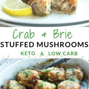 Keto Crab and Brie Stuffed Mushrooms
