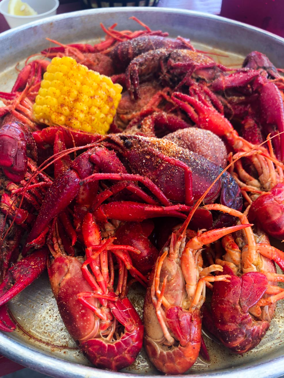 Crawfish Boiled On a Tray