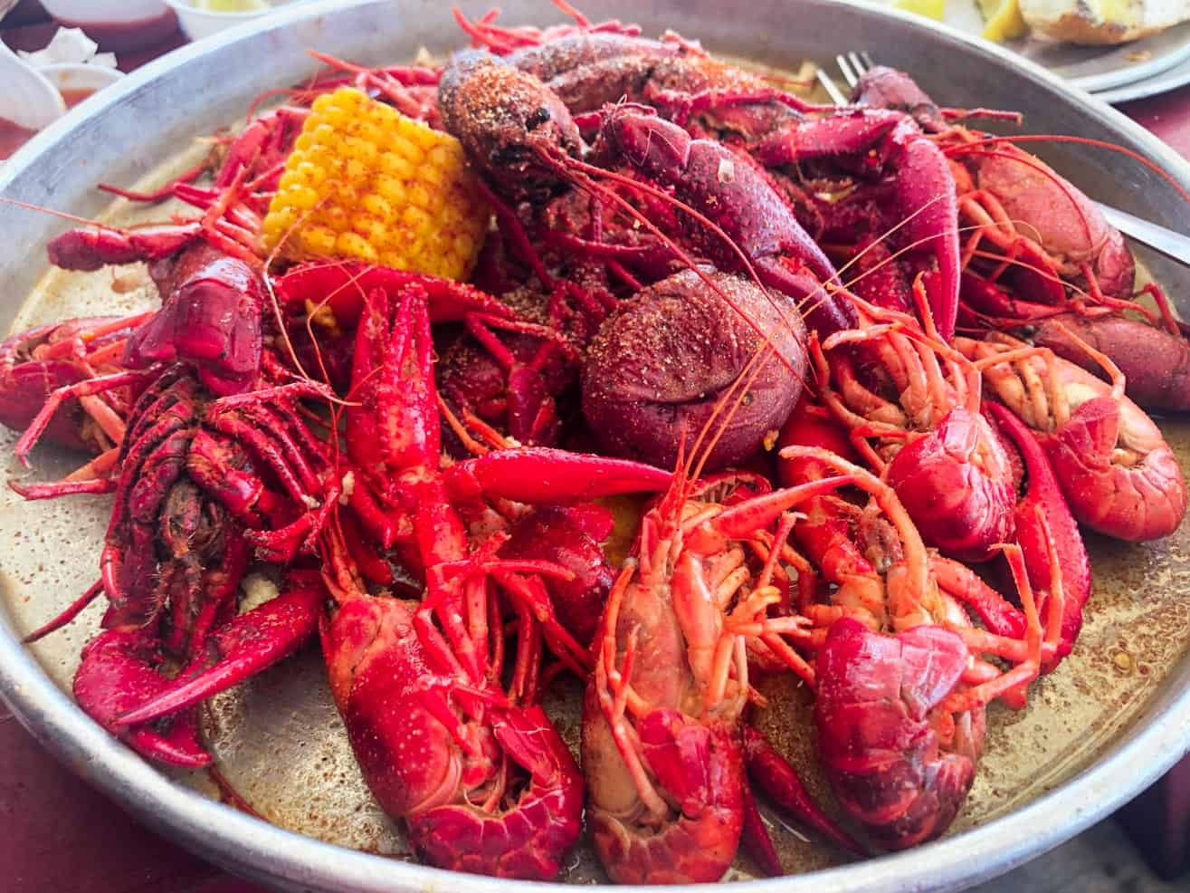 Louisiana Style Boiled Crawfish on a Tray