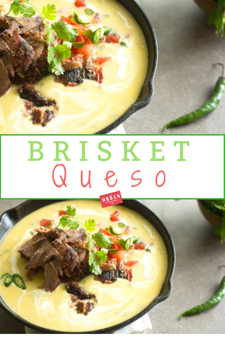 Texas Brisket Queso Recipe - Pinterest image