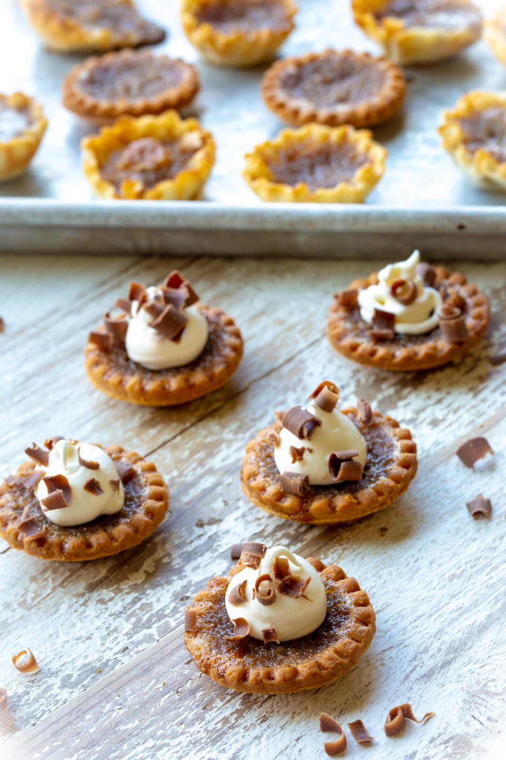Pecan Apple Butter Tarts with Chocolate Shavings