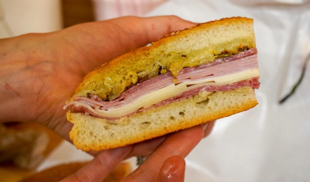 Central Grocery Muffuletta on the food tour of the French Quarter
