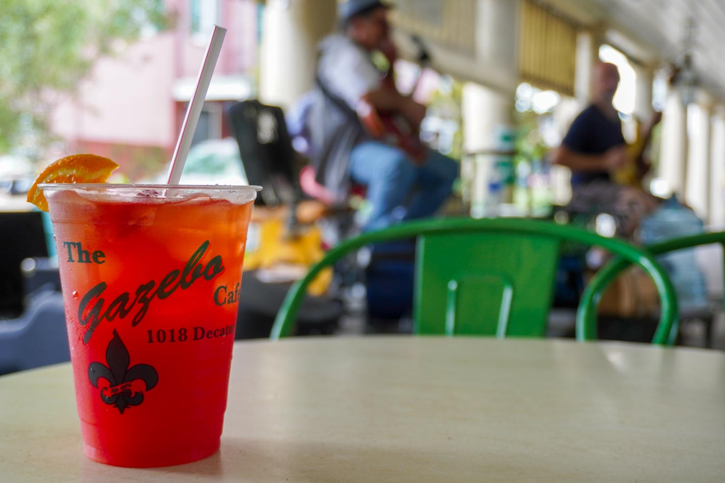 A bright red hurricane drink at the Gazebo Cafe in New Orleans