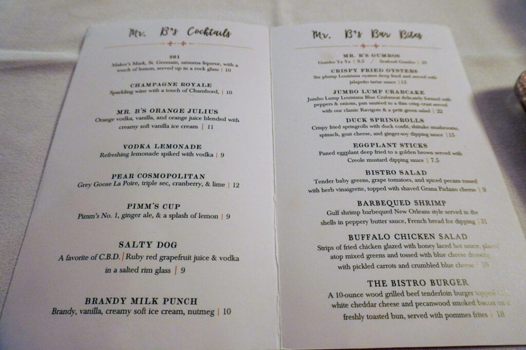 Mr. B's Bistro Bar Menu