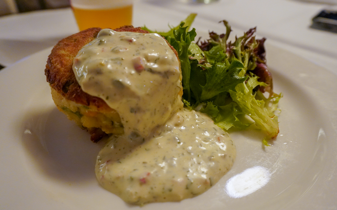 A delicious looking crab cake from Mr.B's Bistro in the French Quarter
