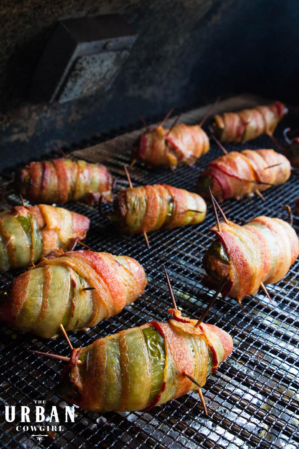 Texas Twinkies smoking on the barbecue smoker