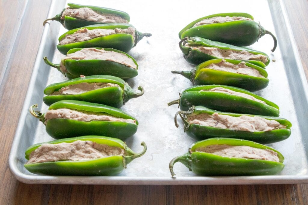 Jalapenos stuffed with brisket and cream cheese