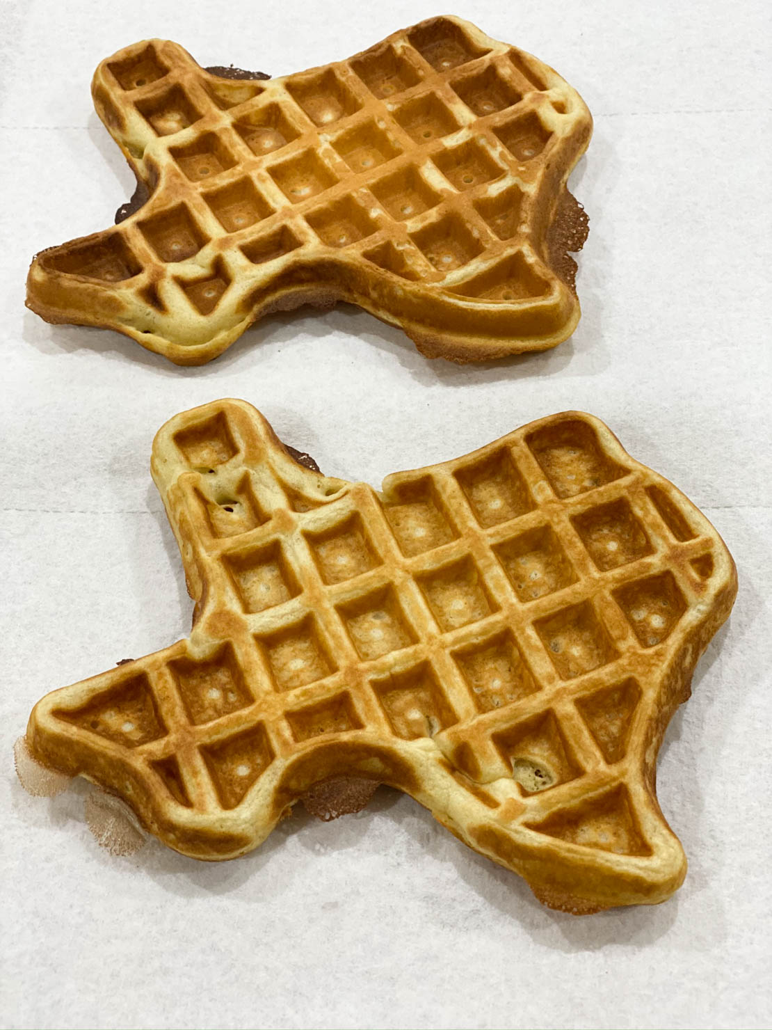Churro Waffles - Texas style, completed and waiting to be fried