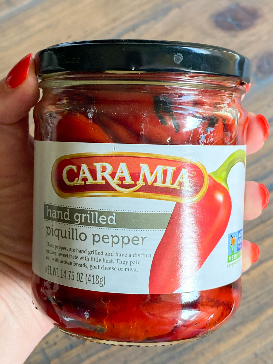 A jar of grilled piquillo peppers