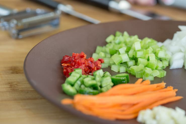 A colorful plate of vegetables chopped precisely