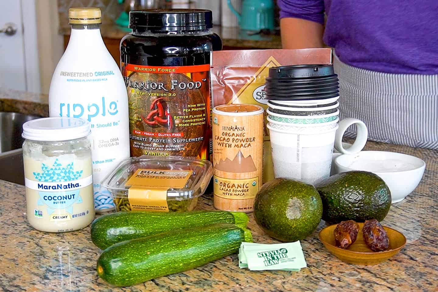 All of the ingredients for our avocado cacao smoothies