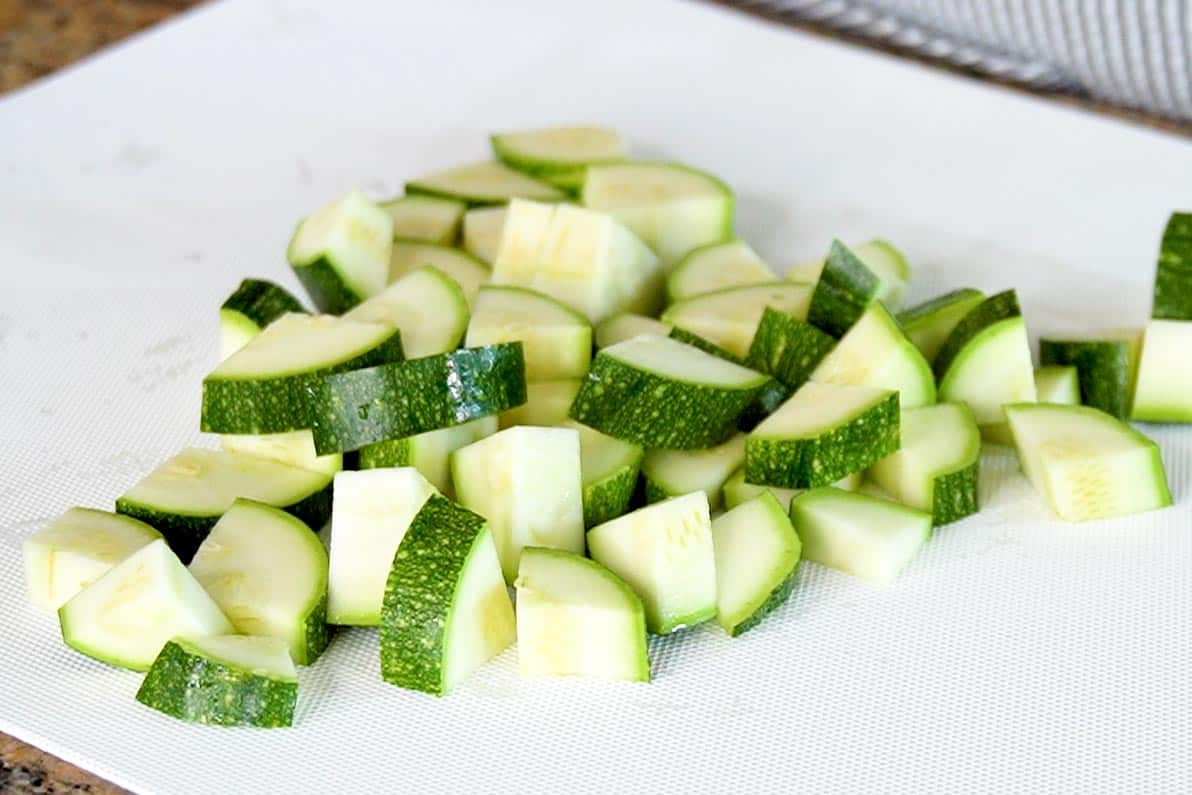 Chopped Zucchini on a plate