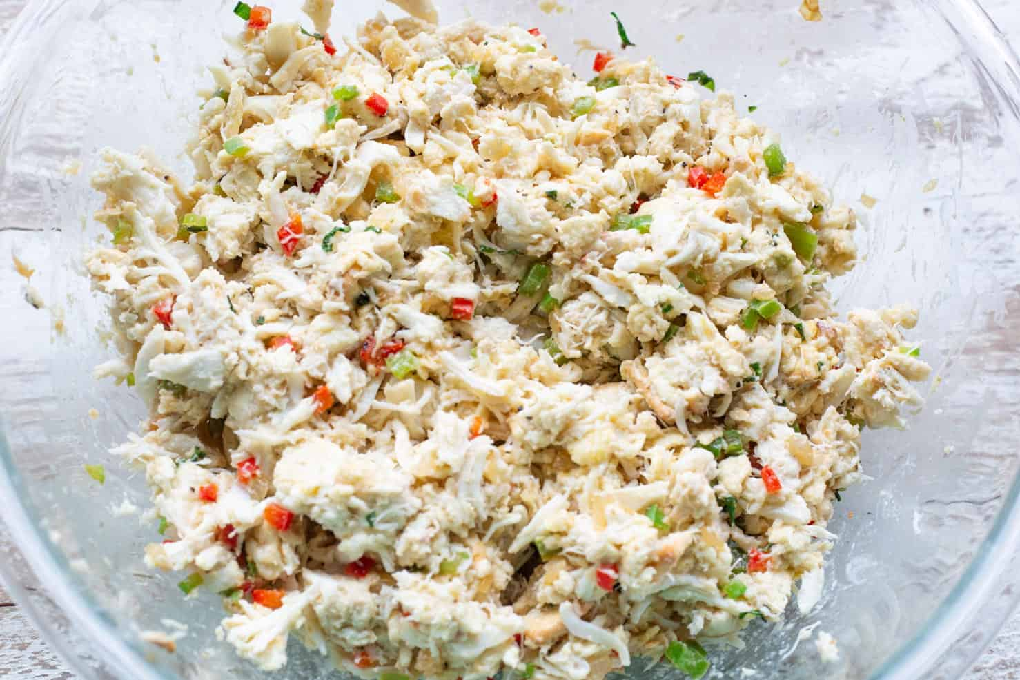 A colorful mixture of crab and vegetables. The mixture for the crab balls.