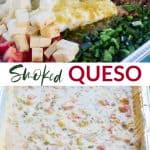 Smoked queso ingredients in a pan, and a completed queso dip
