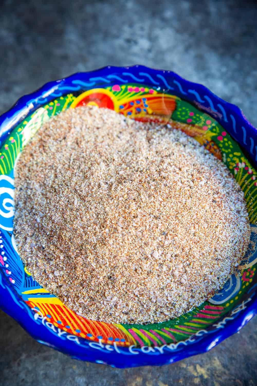 A  close up of the final blended mixture of carna asada seasoning.