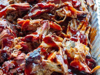 Pellet Grill Pulled Pork In a pan