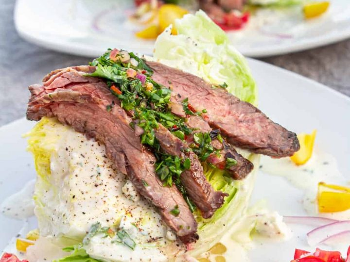a close up, completed, steak wedge salad