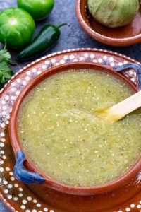 A bowl of green enchilada sauce from above