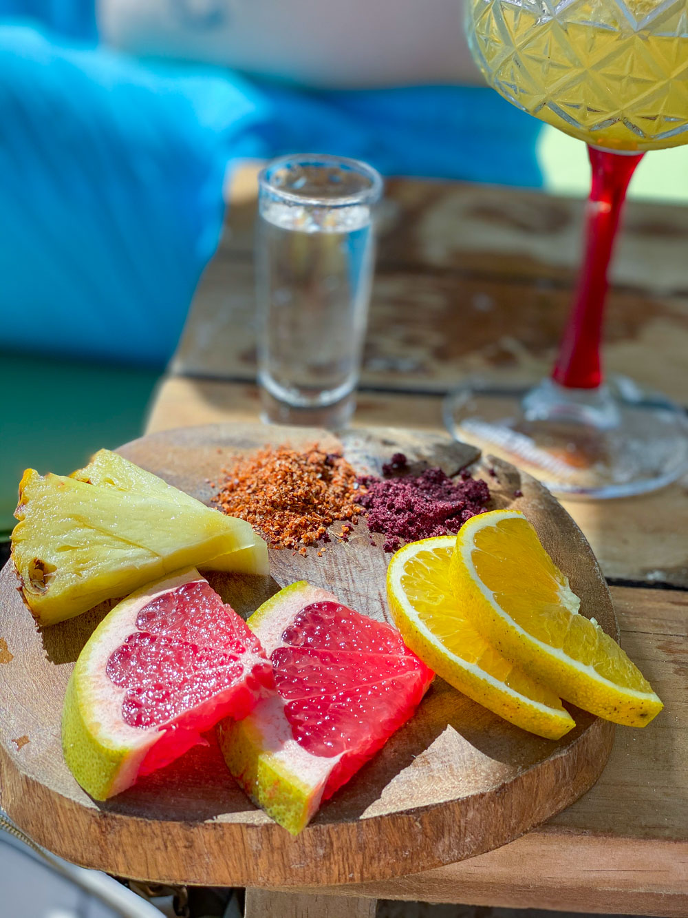 Various fruits and powders for drinking mezcal shots.