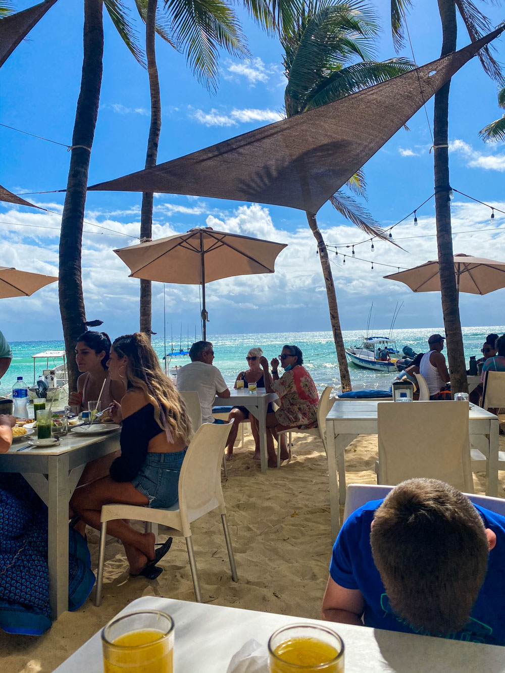 Asi Beach Club in Playa Del Carmen, an outdoor restaurant situated on the beach under lush palm trees.