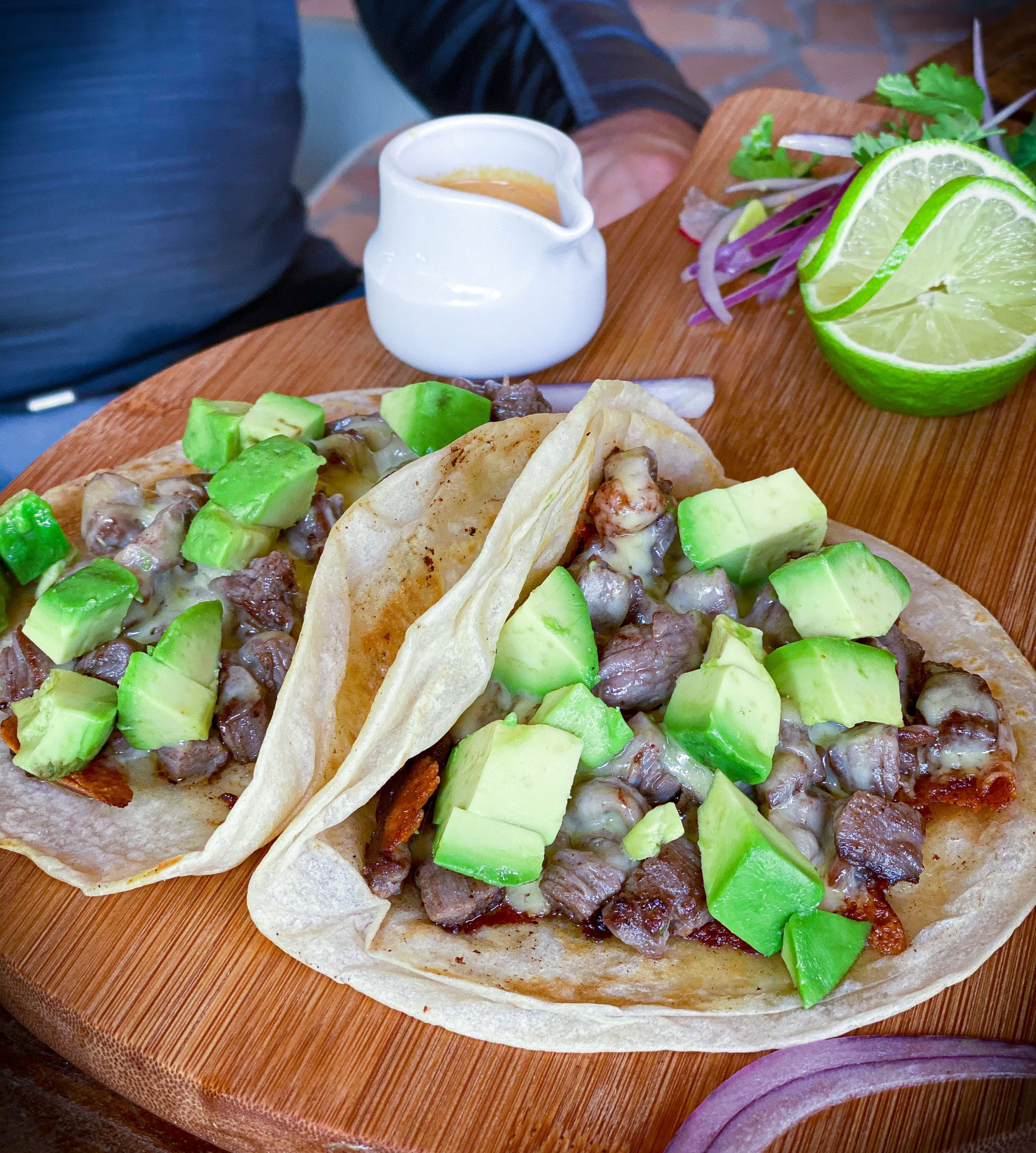 Steak and Avocado Tacos with Chipotle Sauce at Lido Beach Club in Playa Del Carmen, Mexico.