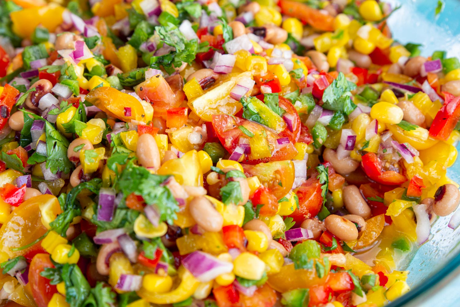 A colorful bowl of Texas Caviar with corn, bell peppers, red onion, tomatoes, cilantro, black eyed peas, and jalapenos, in red wine vinegar dressing.