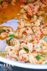 Garlic butter crawfish tails in butter sauce