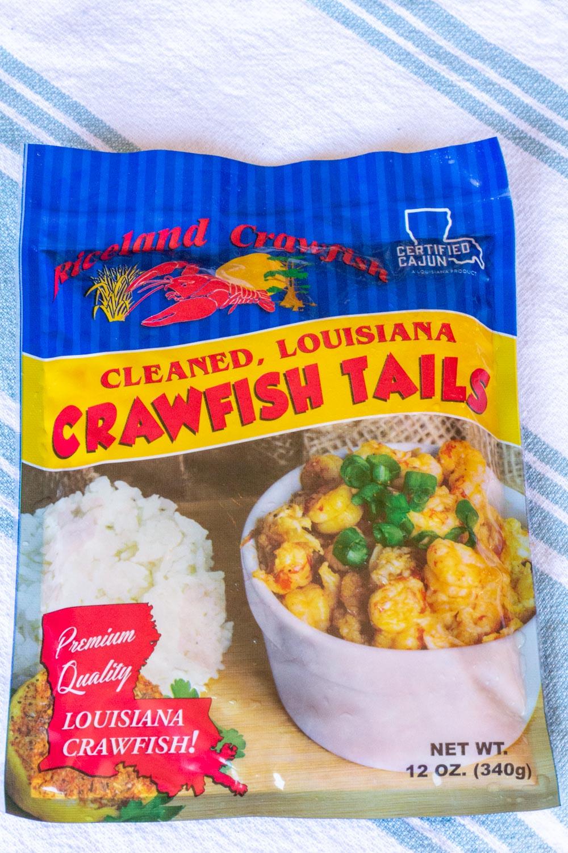 A bag of Louisiana crawfish tails, certified cajun.