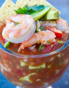 Mexican shrimp cocktail in a schooner glass